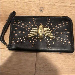 Stela 9 Black Wristlet Wallet Leather and Brass